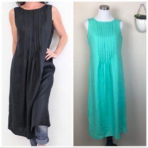 •J. JILL• Sleeveless Linen Pleated Maxi Dress